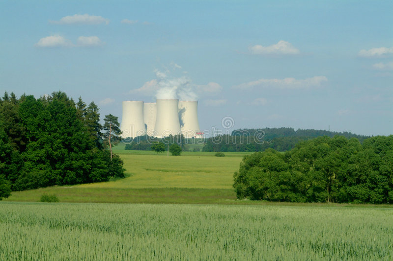 Temelin. Cooling towers of atomic station Temelin in Czech republic royalty free stock photography