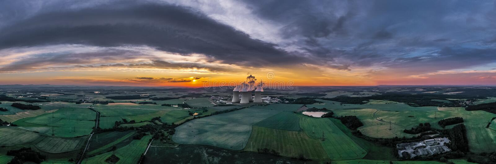 Temelin Nuclear Power Plant in south bohemia in Czech Republic. Temelin Nuclear Power Station. In spring 2003, the Temelin Nuclear Power Plant, with its 2160 MW stock photo