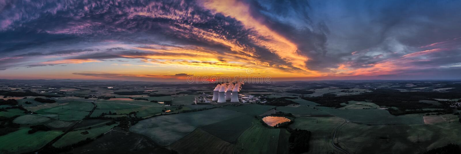 Temelin Nuclear Power Plant in south bohemia in Czech Republic. Temelin Nuclear Power Station. In spring 2003, the Temelin Nuclear Power Plant, with its 2160 MW royalty free stock photo