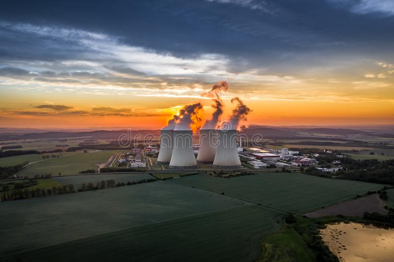 Temelin Nuclear Power Station in south bohemia in Czech Republic. Temelin Nuclear Power Station. In spring 2003, the Temelin Nuclear Power Plant, with its 2160 royalty free stock image