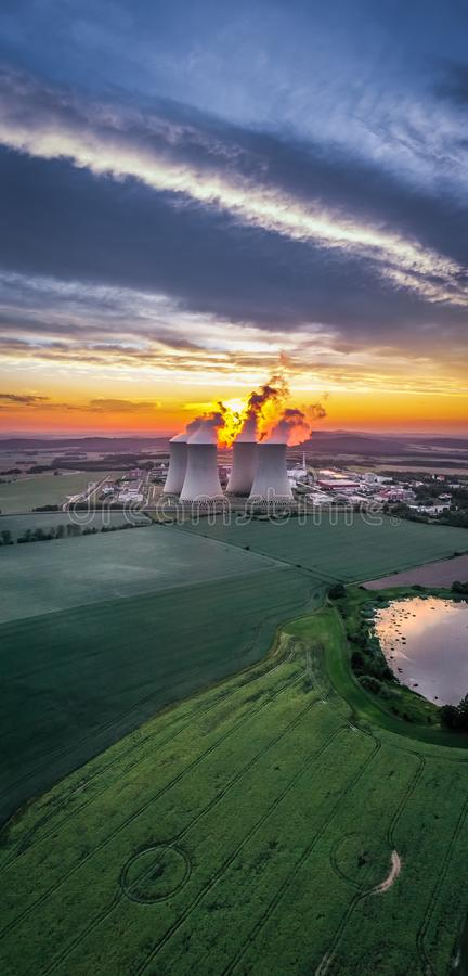 Temelin Nuclear Power Plant in south bohemia in Czech Republic. Temelin Nuclear Power Station. In spring 2003, the Temelin Nuclear Power Plant, with its 2160 MW royalty free stock image