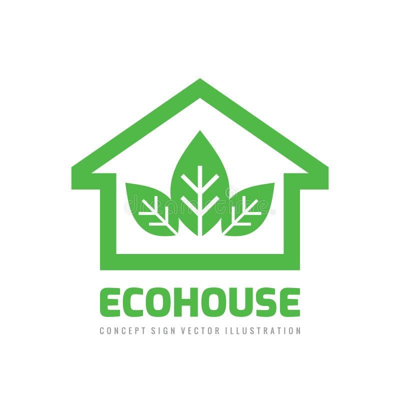 Temlplate del vector del diseño del logotipo del negocio de la casa de Eco Muestra de la estructura del concepto Hogar verde ilustración del vector