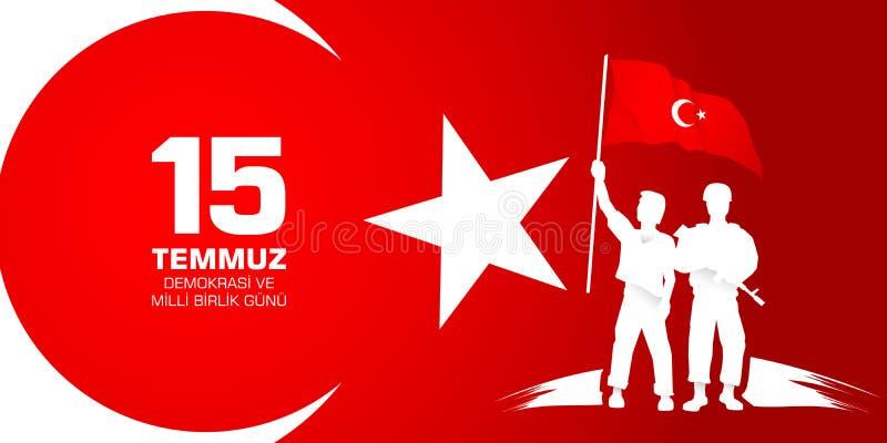 15 Temmuz Demokrasi ve milli birlik gunu 从土耳其语的翻译:7月15日民主和民族团结天 库存例证