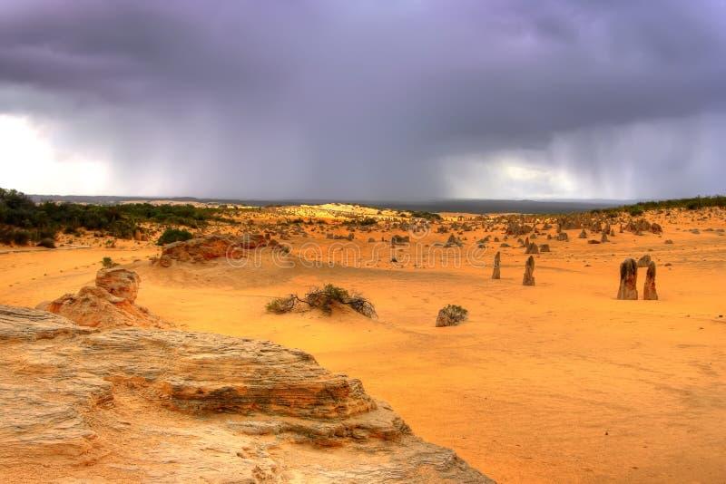 Tempête au-dessus du désert photographie stock