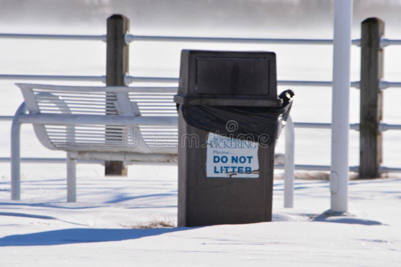Temp?te d'hiver, poubelle sur un pont images libres de droits