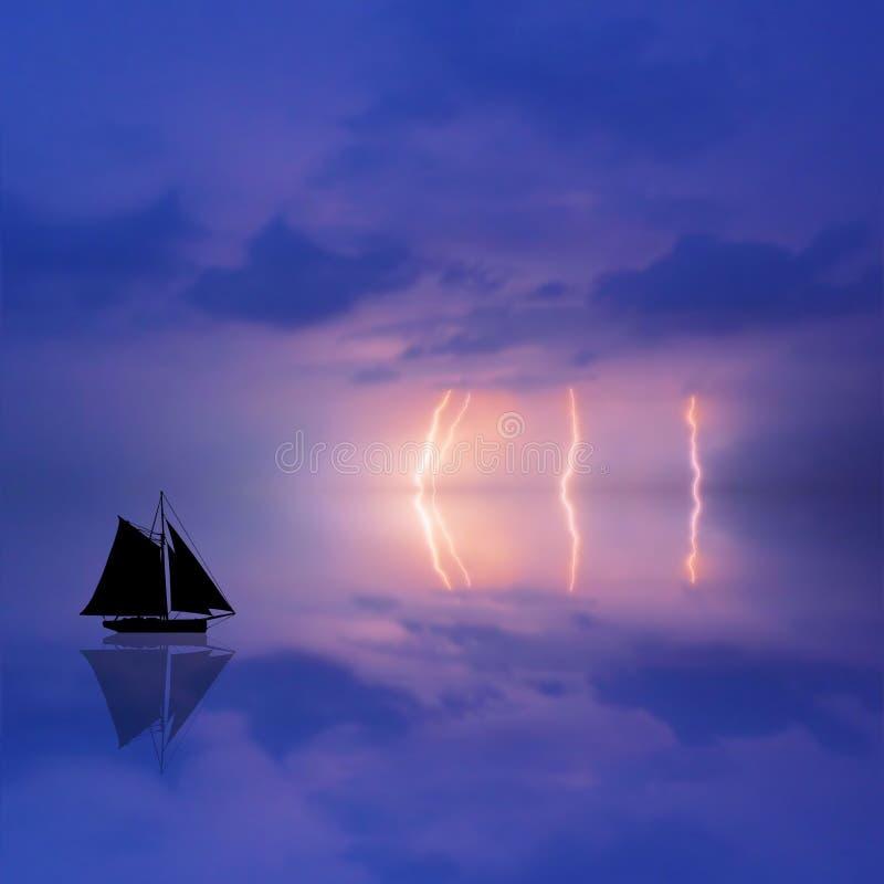 tempête d'illustration de bateau illustration libre de droits
