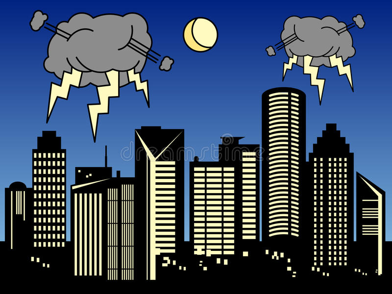 Tempête dans la ville illustration stock
