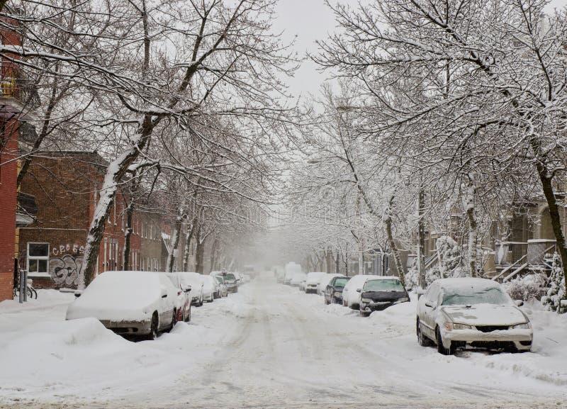 Tempête de neige à Montréal photo stock