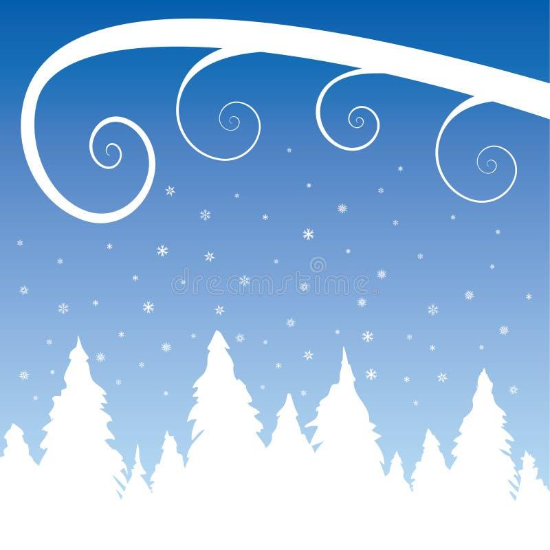 Tempête de neige au-dessus d'une forêt de pin illustration libre de droits