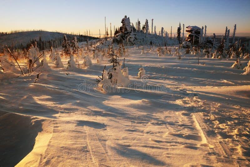 Tempête de neige sur une montagne baignée en soleil d'or de matin, photographié éclairé à contre-jour images stock