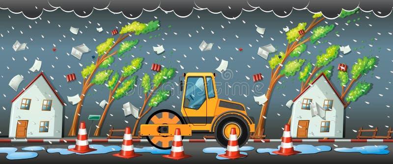 Tempête de pluie dans la ville illustration libre de droits