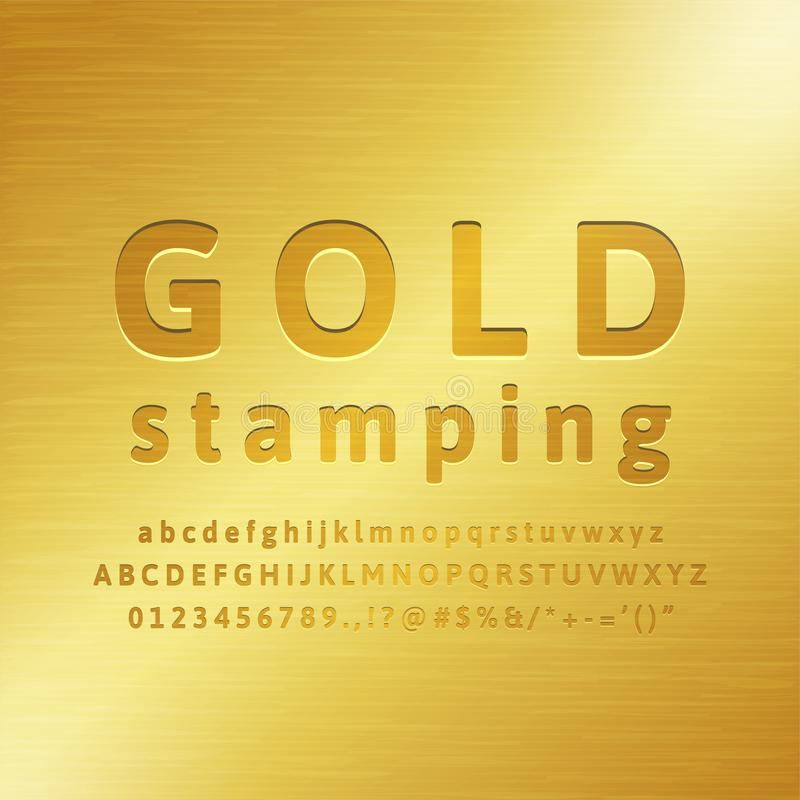 3d Alphabet gold stamping font effect. With realistic golden metal fill royalty free illustration