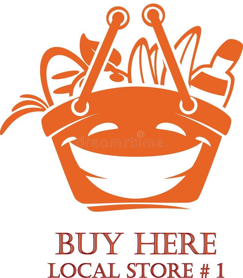 Temp de sorriso do projeto do logotipo do carrinho de compras dos desenhos animados dos alimentos frescos ilustração stock