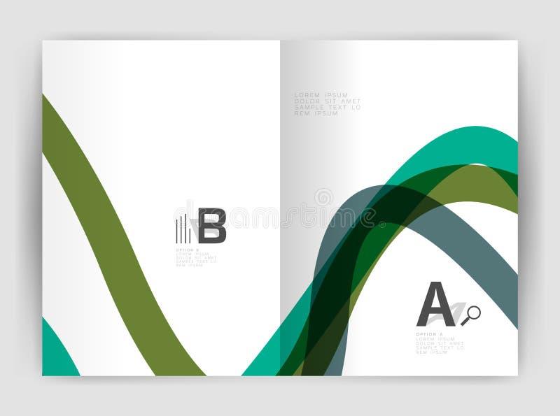Tempalate dell'aletta di filatoio dell'opuscolo di affari, onda e linea fondo astratto illustrazione di stock