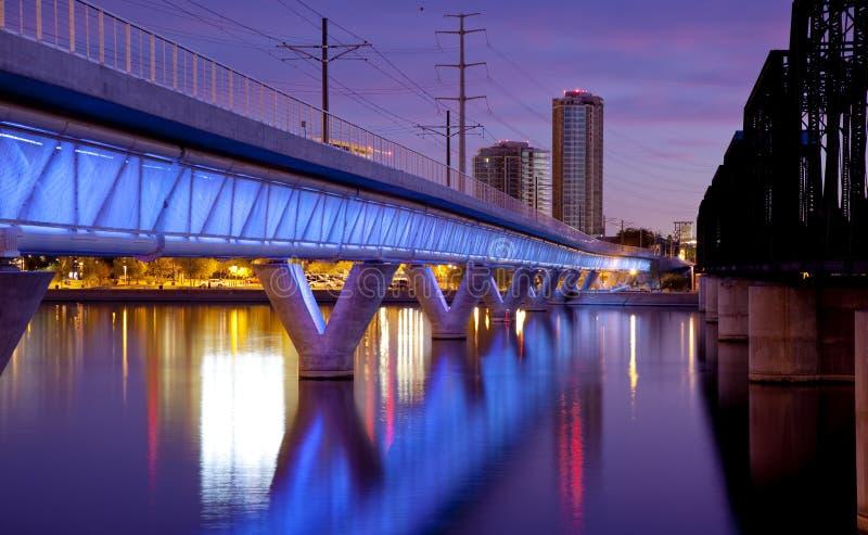 Tempe Arizona Light Rail Bridge and City royalty free stock images