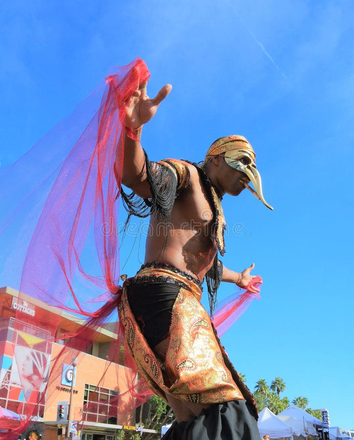 Tempe, Arizona: Straatentertainer in Mardi Gras Costume royalty-vrije stock foto's