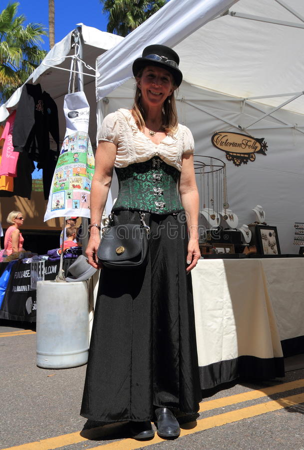 Tempe, Arizona: Woman In Steampunk Outfit at Jewellery Booth stock photo
