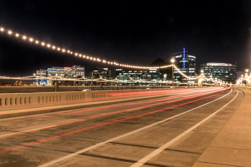 Night Skyline of Tempe Arizona with Light Trails along the Mill royalty free stock photo