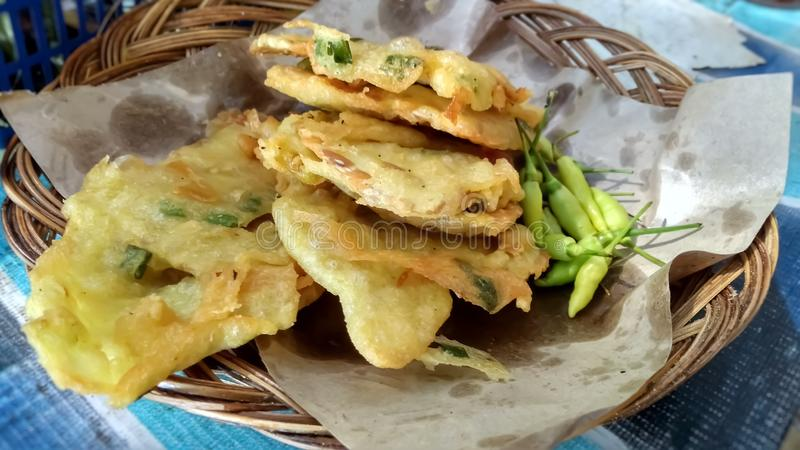 Tempe mendoan fried is a food traditional from Indonesia. Fried, tempe, mendoan, food, traditional stock image