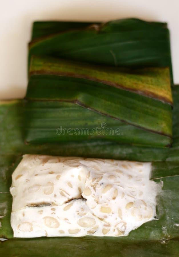 Tempeh op banaanblad stock fotografie