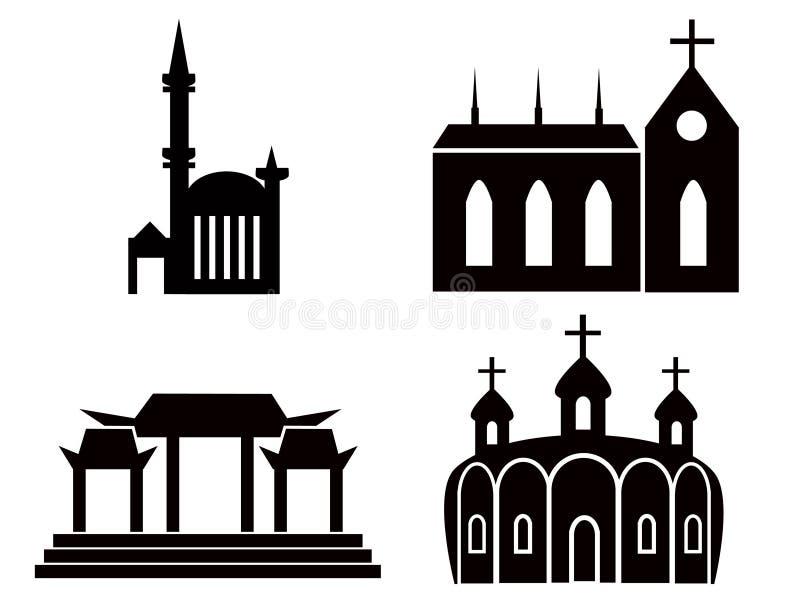 tempel stock illustrationer