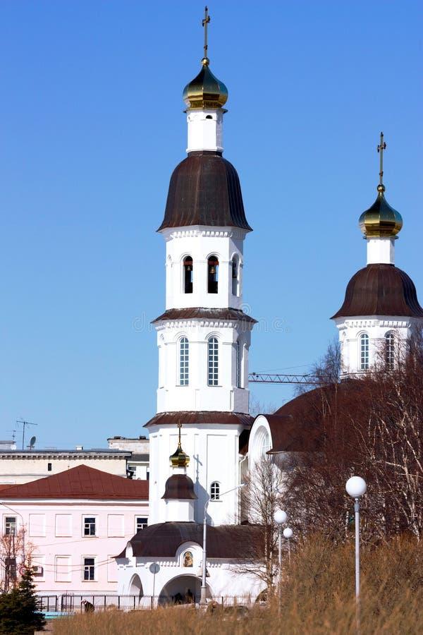 Tempel Arkhangelsk lizenzfreie stockfotos