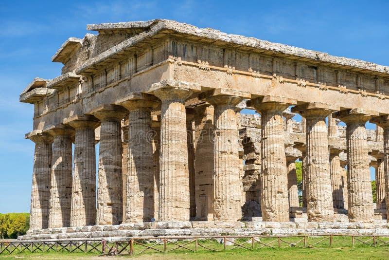 Tempel av Athena Minerva i Poseidonia Paestum, Campania, Italien arkivfoto