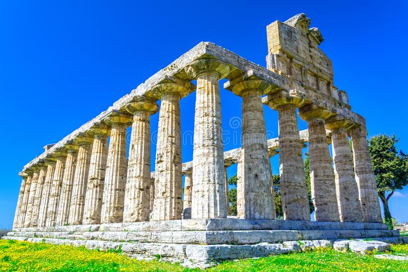 Tempel av Athena, Paestum, Italien arkivbild