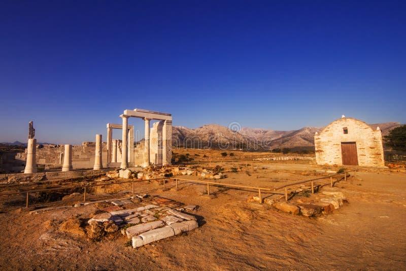 Tempel av demeteren och en tidiga Christian Basilica på den Naxos ön, Grekland arkivfoto