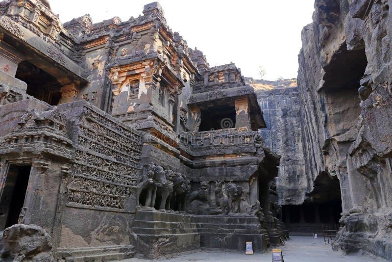 Tempel av Ellora grottor, desnitt templen, AURANGABAD, MAHARASHTRA i Indien arkivbild