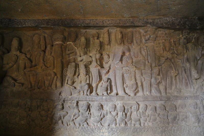 Tempel av Ellora grottor, desnitt templen, AURANGABAD, MAHARASHTRA i Indien arkivfoton