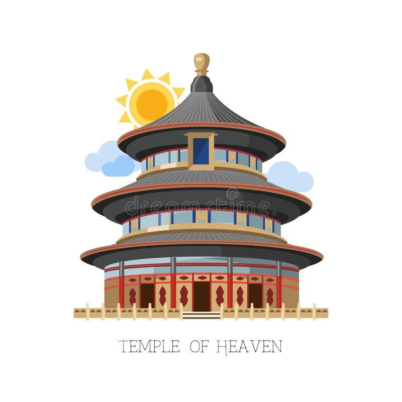 Tempel av för Kina för himmelillustrationasiat den stora arkitekten vektor stock illustrationer