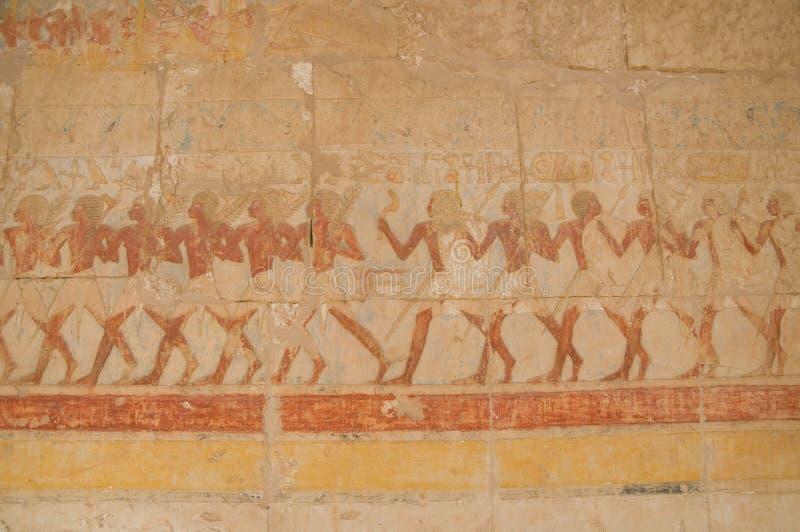 Tempel av Hatshepsut väggmålningar royaltyfri foto