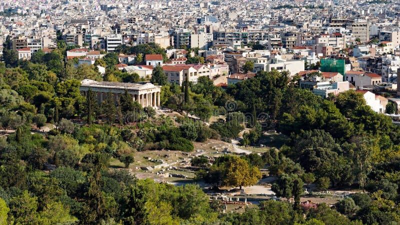 Tempel av Hephaestus, Roman Agora, Aten, Grekland royaltyfri foto