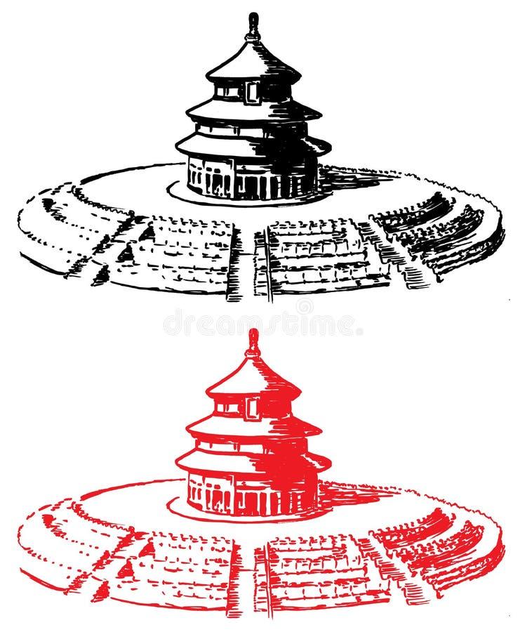 Tempel av himmelPeking stock illustrationer