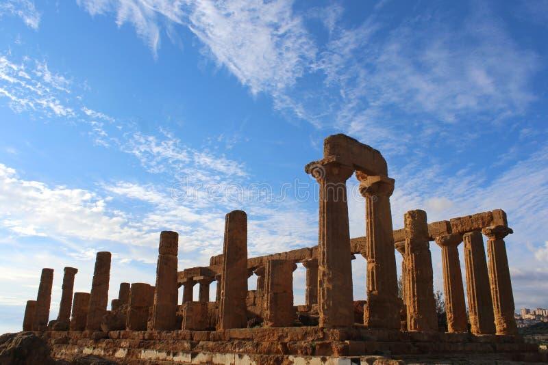 Tempel av Juno i dalen av tempel, Agrigento, Sicilien royaltyfri foto