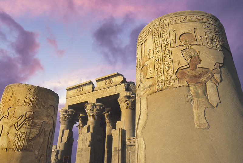 Tempel av Kom-Ombo på Nilen, Eygpt royaltyfria bilder