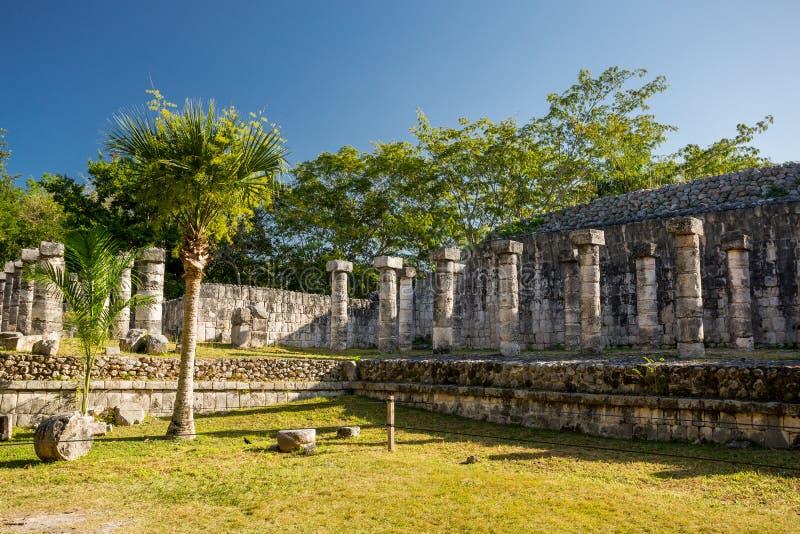 Tempel av krigarna Chichen Itza arkeologisk plats, Yucatan halvö, Mexico arkivbilder