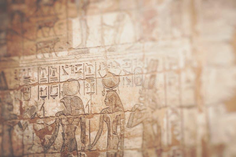 Tempel av Medinet Habu i Luxor, Egypten Selektivt fokusera fotografering för bildbyråer