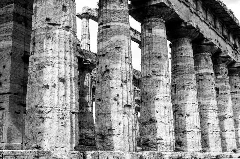 Tempel av Neptun i svartvitt den berömda Paestum archaeolen royaltyfri fotografi