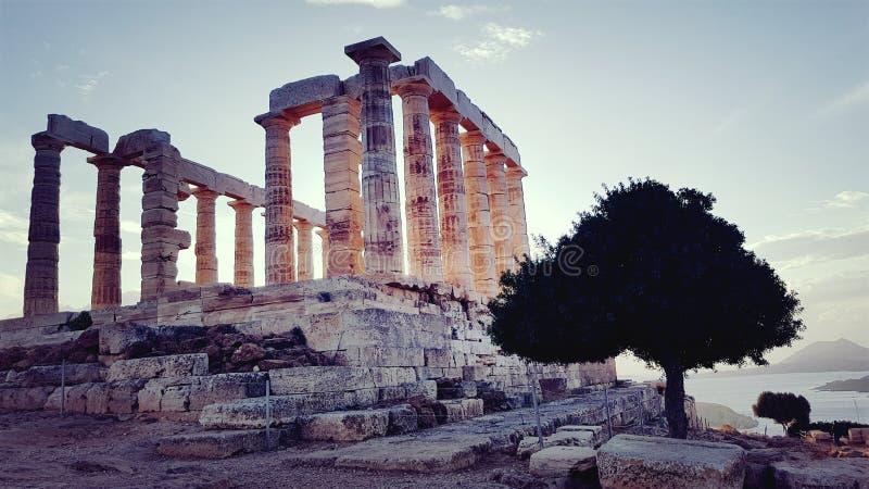 Tempel av Poseidon i udde Sounion royaltyfri bild