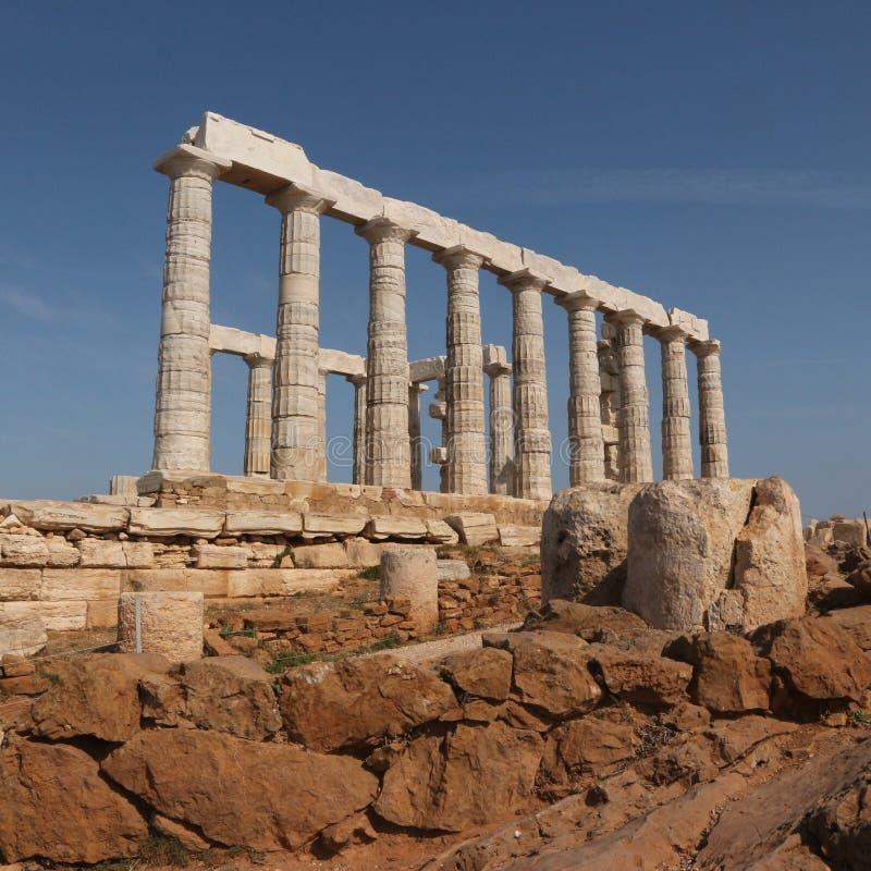 Tempel av Poseidon på Sounion udde arkivbilder