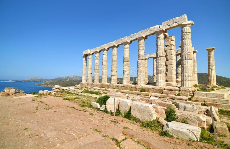 Tempel av Poseidon på udde Sounion Grekland royaltyfri foto
