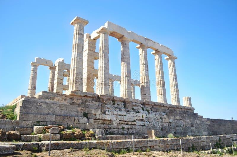 Tempel av Poseidon Sounion Grekland arkivbild