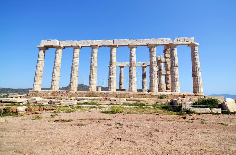 Tempel av Poseidon Sounion Grekland fotografering för bildbyråer