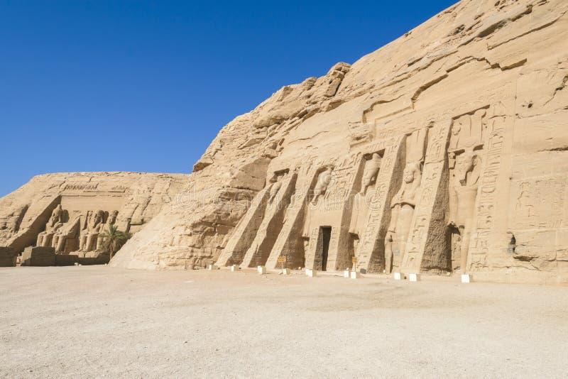 Tempel av Ramses och tempel av Nefertari, Abu Simbel, Egypten arkivfoto