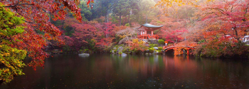 Tempel Daigo -daigo-ji in de herfst royalty-vrije stock foto's