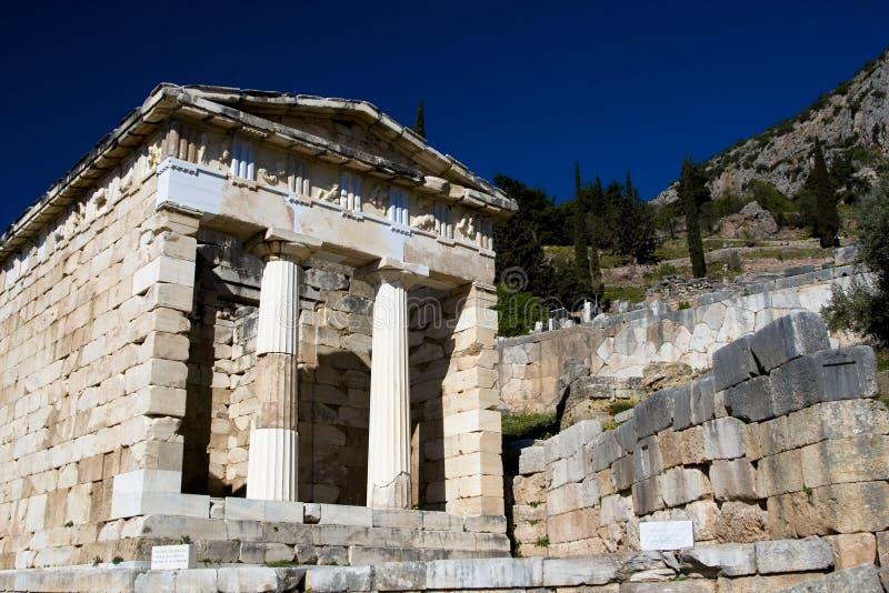 Tempel in Delphi Griechenland lizenzfreie stockfotos