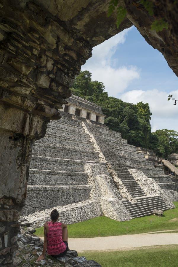 Tempel der Anweisungsansicht bei Palenque in Mexiko stockfotografie