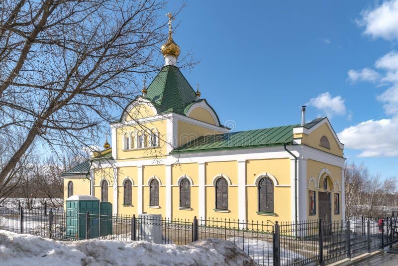 Tempel der Ikone der Mutter des belebenden Frühlinges des Gottes in Kozhukhovo stockfotos